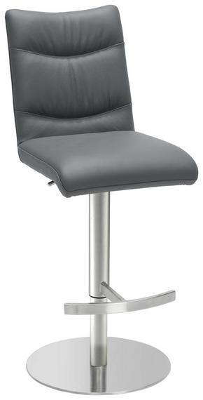 BARPALL - grå/rostfritt stål-färgad, Design, metall/läder (42 87,5-113 55cm) - Novel