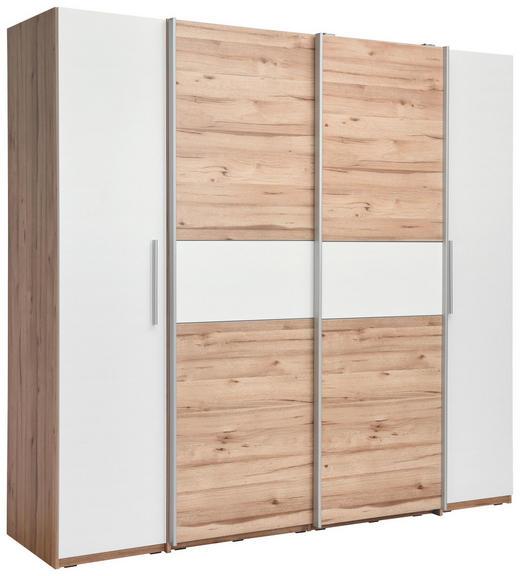 DREHTÜRENSCHRANK in Eichefarben, Weiß - Eichefarben/Alufarben, MODERN, Holzwerkstoff/Kunststoff (200,1/190,5/61,6cm) - Carryhome