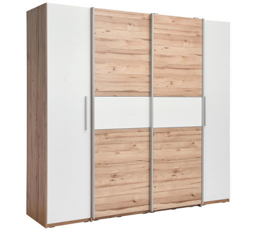 DREHTÜRENSCHRANK in Weiß, Eichefarben  - Eichefarben/Alufarben, MODERN, Holzwerkstoff/Kunststoff (200,1/190,5/61,6cm) - Carryhome