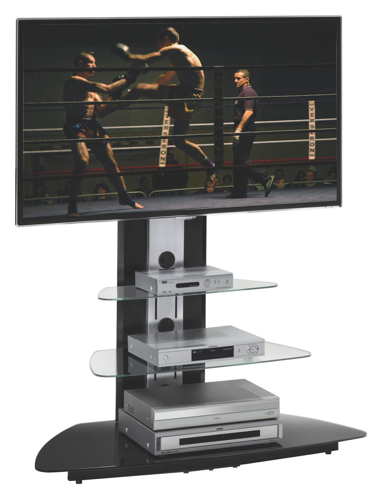 TV-RACK Glas, Metall Alufarben, Schwarz - Alufarben/Schwarz, Design, Glas/Metall (110/128/53cm)