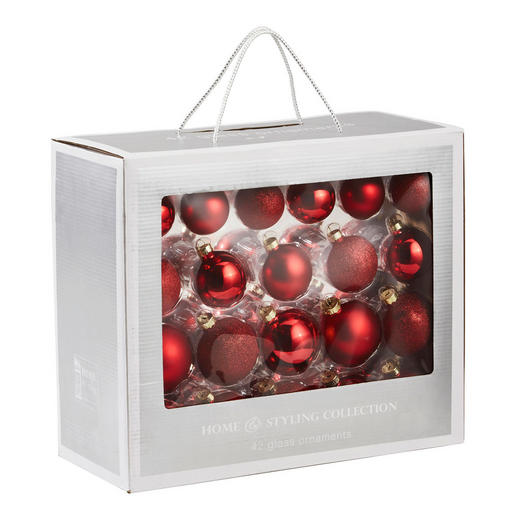 CHRISTBAUMKUGEL-SET  42-teilig Rot - Rot, Basics, Glas