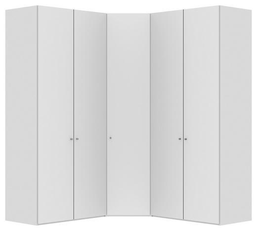 ECKSCHRANK Weiß - Silberfarben/Weiß, Design, Holzwerkstoff/Metall (200/200/236/58,5cm) - Jutzler