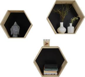 VÄGGHYLLA SET - svart/naturfärgad, Basics, trä/träbaserade material (34/37/40/29/32/34/14/16/18cm) - Low Price