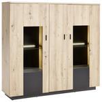 HIGHBOARD Anthrazit, Eichefarben  - Eichefarben/Anthrazit, Design, Glas/Holzwerkstoff (150/137/37cm) - Carryhome