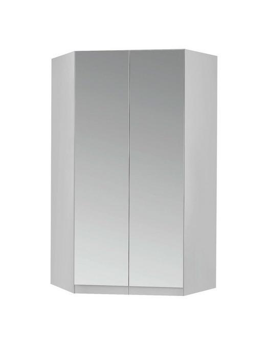 ECKSCHRANK Weiß - Alufarben/Weiß, Design, Glas/Holzwerkstoff (117/197/117cm) - Carryhome