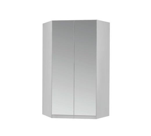 ECKSCHRANK in Weiß - Alufarben/Weiß, Design, Glas/Holzwerkstoff (117/197/117cm) - Carryhome