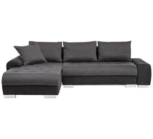 WOHNLANDSCHAFT in Textil Anthrazit, Schwarz  - Anthrazit/Schwarz, Design, Kunststoff/Textil (198/278cm) - Carryhome