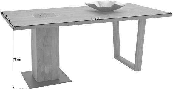 ESSTISCH in massiv Kerneiche Anthrazit, Eichefarben - Eichefarben/Anthrazit, Design, Holz/Metall (190/95/76cm) - Valnatura