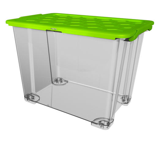BOX MIT DECKEL 59/39,5/41,2 cm - Transparent/Grün, KONVENTIONELL, Kunststoff (59/39,5/41,2cm) - Rotho