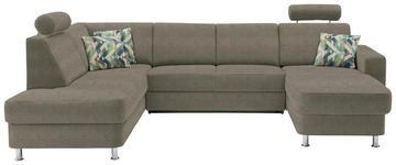WOHNLANDSCHAFT in Textil Braun, Hellbraun - Chromfarben/Hellbraun, Design, Kunststoff/Textil (198/301/165cm) - Xora