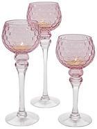 Glaswindlicht auf Fuß 3er Set 3-teilig - Pink, Basics, Glas