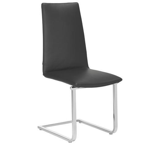 SCHWINGSTUHL in Metall, Leder Schwarz - Schwarz, Design, Leder/Metall (45/101/59cm) - Bacher