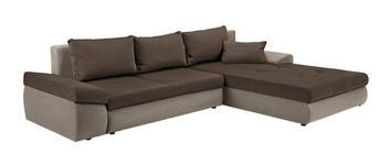 WOHNLANDSCHAFT in Textil Braun, Hellbraun  - Hellbraun/Schwarz, Design, Kunststoff/Textil (313/215cm) - Carryhome