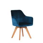 STOL, les, tekstil hrast, temno zelena  - hrast/temno zelena, Moderno, tekstil/les (61/86/62,5cm) - Venda