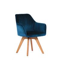 STOLICA - tamno plava/boje hrasta, Moderno, drvo/tekstil (61/86/62,5cm) - Venda