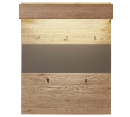 GARDEROBENPANEEL 93/117/30 cm - Eichefarben/Grau, Natur, Glas/Holz (93/117/30cm) - Voleo