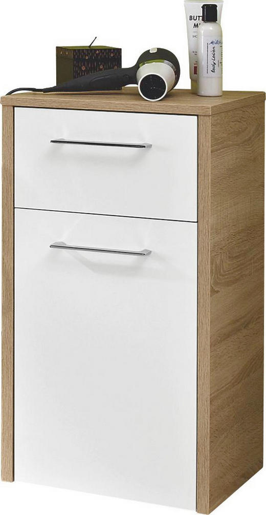 UNTERSCHRANK Weiß - Chromfarben/Eichefarben, Design, Holzwerkstoff/Metall (40,6/71,8/32,8cm) - XORA