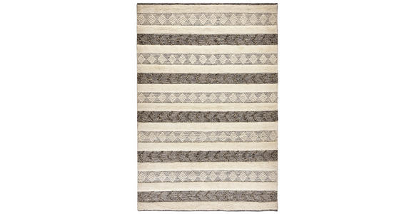 HANDWEBTEPPICH  70/140 cm  Schwarz, Weiß   - Schwarz/Weiß, KONVENTIONELL, Textil (70/140cm) - Linea Natura
