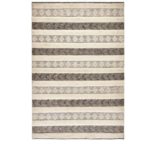 HANDWEBTEPPICH  160/230 cm  Schwarz, Weiß   - Schwarz/Weiß, KONVENTIONELL, Textil (160/230cm) - Linea Natura