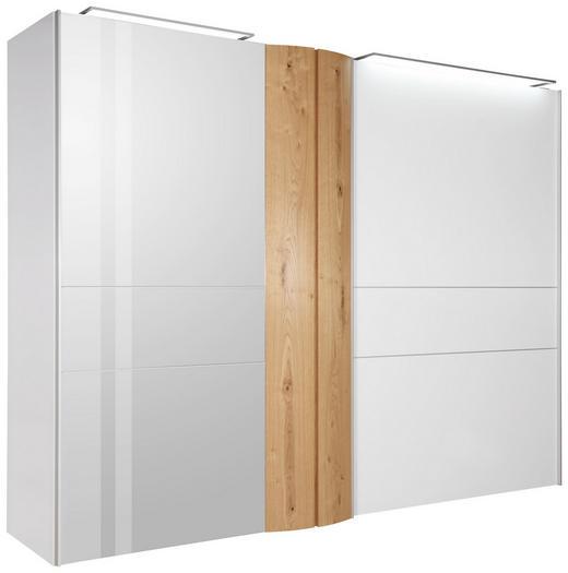 SCHIEBETÜRENSCHRANK 2-türig Balkeneiche furniert Eichefarben, Weiß - Eichefarben/Alufarben, Design, Holz/Holzwerkstoff (302/229,6/71,4cm) - Ambiente by Hülsta