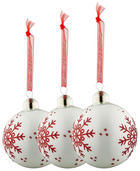 CHRISTBAUMKUGEL-SET  3-teilig Rot, Weiß - Rot/Weiß, Glas (8cm)
