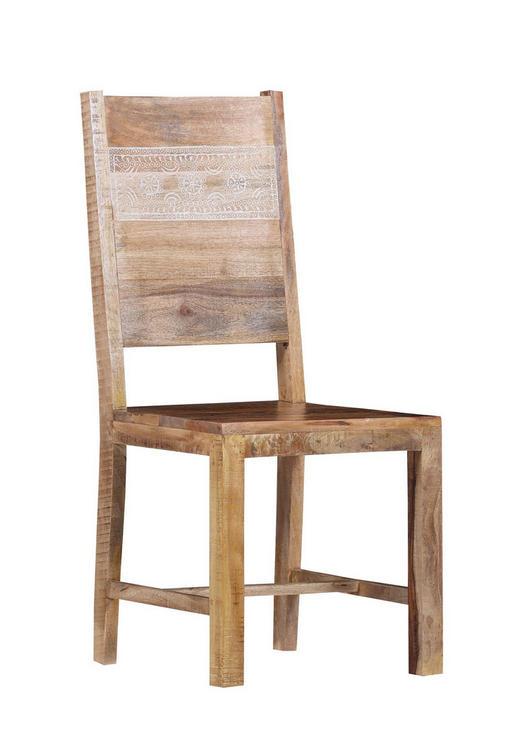 STUHL Mangoholz massiv Naturfarben - Naturfarben, Design, Holz (45/101/50cm)