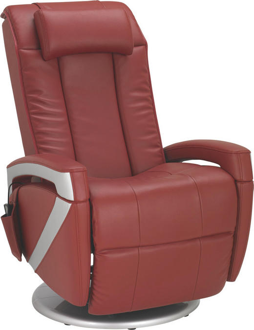 MASSAGESESSEL Kombination Echtleder/Lederlook Lederlook Rot - Chromfarben/Rot, Design, Leder/Textil (102/77/70cm) - Cantus