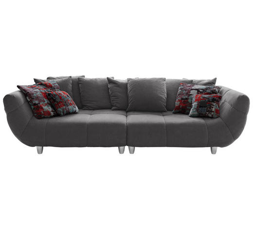 Megasofa in Grau Textil   - Chromfarben/Rot, Design, Kunststoff/Textil (300/87/133cm) - Hom`in