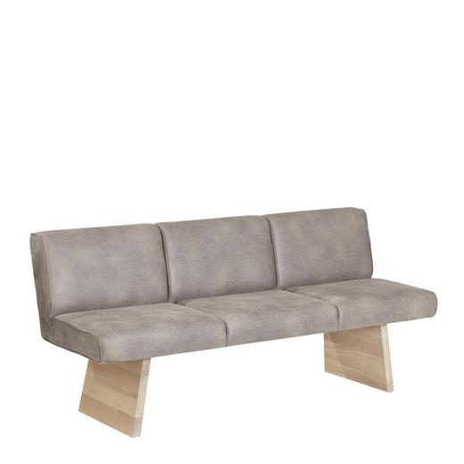 SITZBANK  in Grau, Eichefarben - Eichefarben/Grau, KONVENTIONELL, Holz/Textil (180/84/66,5cm) - Voglauer