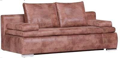 SCHLAFSOFA Lederlook Braun - Chromfarben/Braun, Design, Textil/Metall (200/66/93cm) - Carryhome