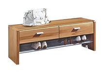 GARDEROBENBANK Strukturbuche teilmassiv Eichefarben - Eichefarben/Silberfarben, Design, Holz/Metall (111/42/38cm) - Linea Natura