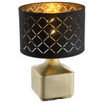 TISCHLEUCHTE - Goldfarben/Schwarz, KONVENTIONELL, Keramik/Textil (25/38cm) - Boxxx