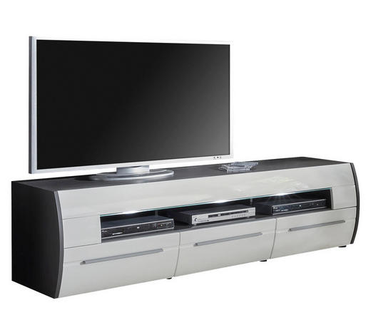 LOWBOARD Hochglanz, tiefgezogen Graphitfarben, Weiß  - Graphitfarben/Alufarben, Design, Kunststoff (200/56/53cm) - Xora
