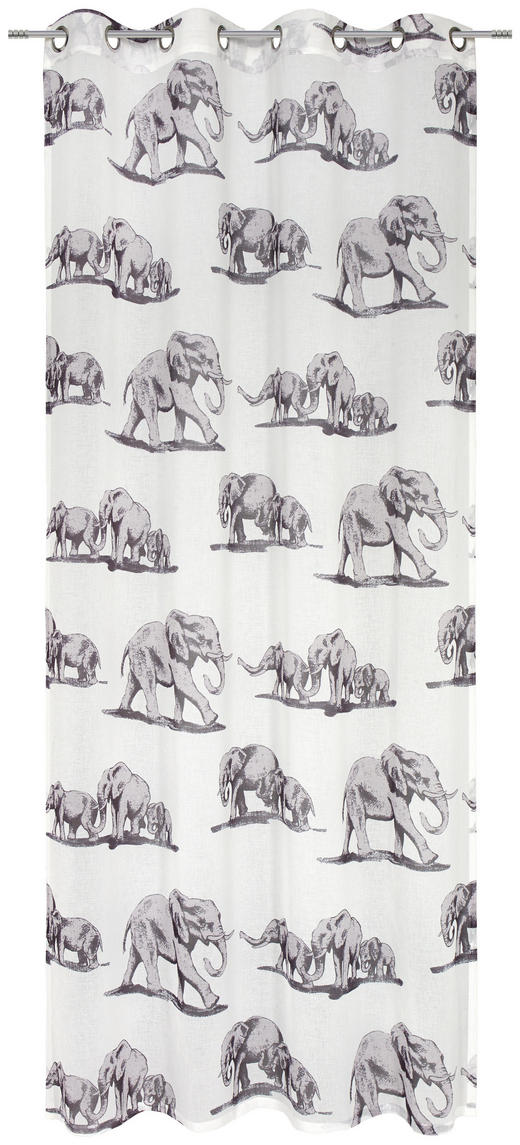 ÖSENVORHANG halbtransparent - Weiß/Grau, Trend, Textil (140/250cm) - Esposa