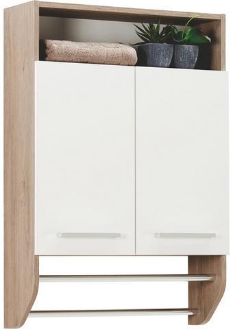 VISEČA OMARA 60/87/20 cm - hrast/bela, Design, kovina/leseni material (60/87/20cm) - Xora