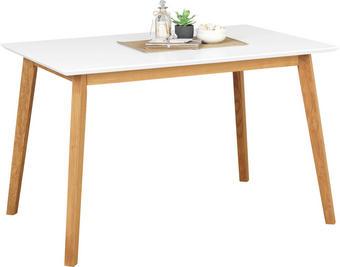 ESSTISCH Eiche massiv Eichefarben, Weiß - Eichefarben/Weiß, Design, Holz (120/80/75cm) - CELINA HOME