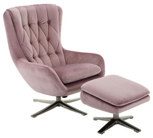 RELAXSESSELSET in Metall, Textil Nickelfarben, Altrosa - Altrosa/Nickelfarben, MODERN, Textil/Metall (73/102/84cm) - Carryhome