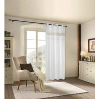 ÖSENVORHANG halbtransparent - Weiß, Natur, Textil (140/250cm) - Landscape