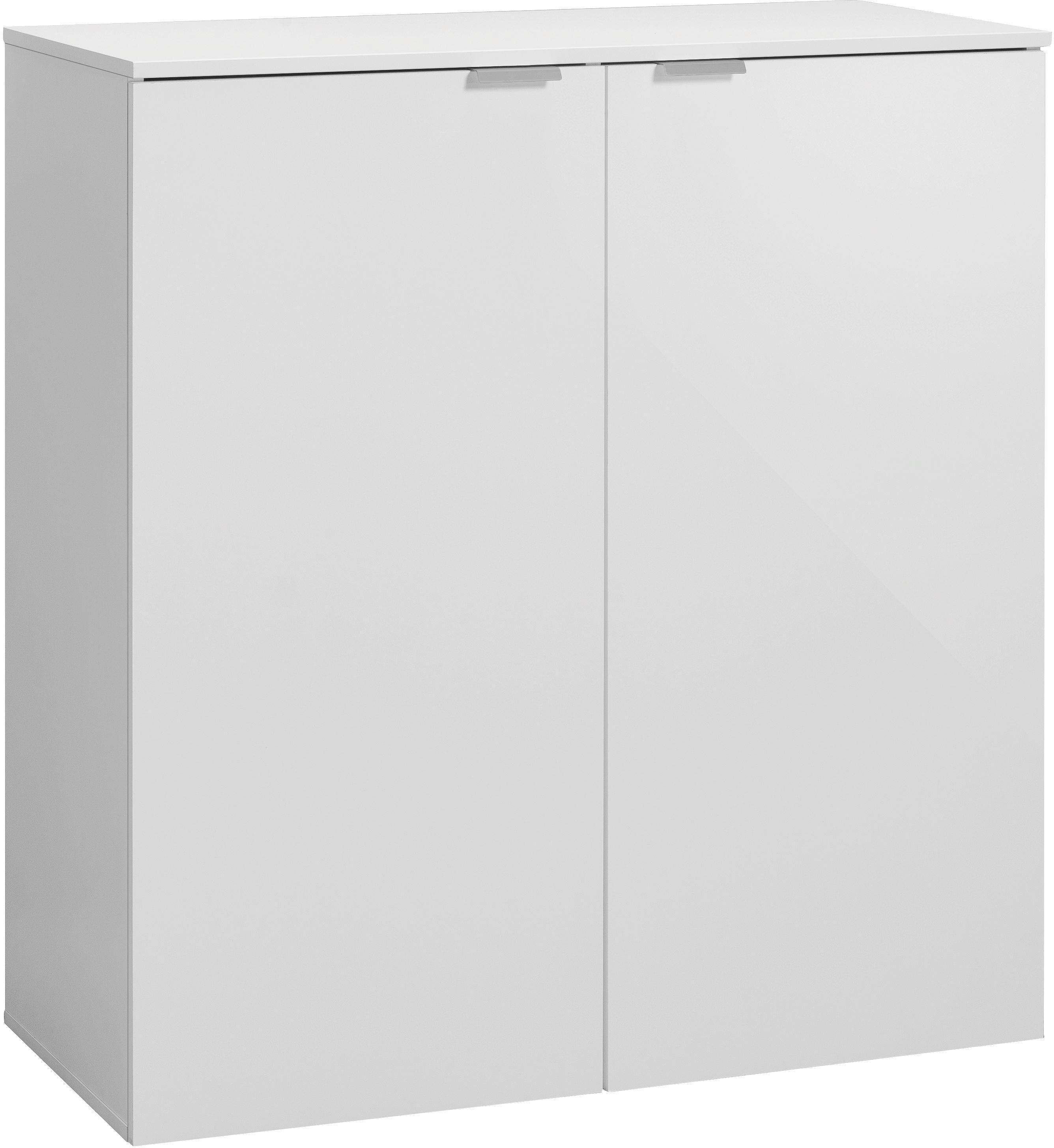 KOMMODE in Weiß - Silberfarben/Schwarz, Design, Holzwerkstoff/Kunststoff (91/100/42cm) - CS SCHMAL
