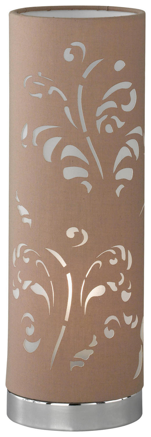 TISCHLEUCHTE - Chromfarben/Braun, LIFESTYLE, Textil/Metall (35cm)
