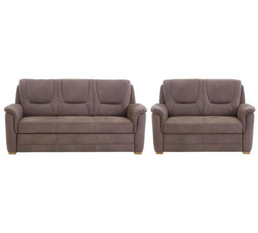 SITZGARNITUR Braun  - Eichefarben/Braun, KONVENTIONELL, Holz/Textil (198/146/96/92cm) - Beldomo Comfort
