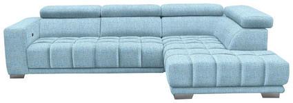WOHNLANDSCHAFT in Textil Blau  - Chromfarben/Blau, Design, Textil (301/207cm) - Xora
