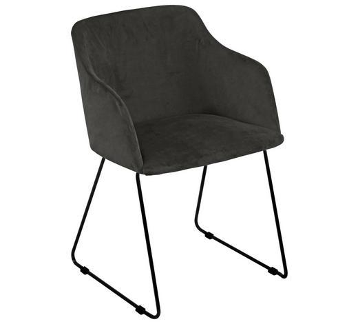 ŽIDLE S PODRUČKAMI, tmavě šedá - černá/tmavě šedá, Design, kov/textil (52/79,5/54,5cm) - Carryhome