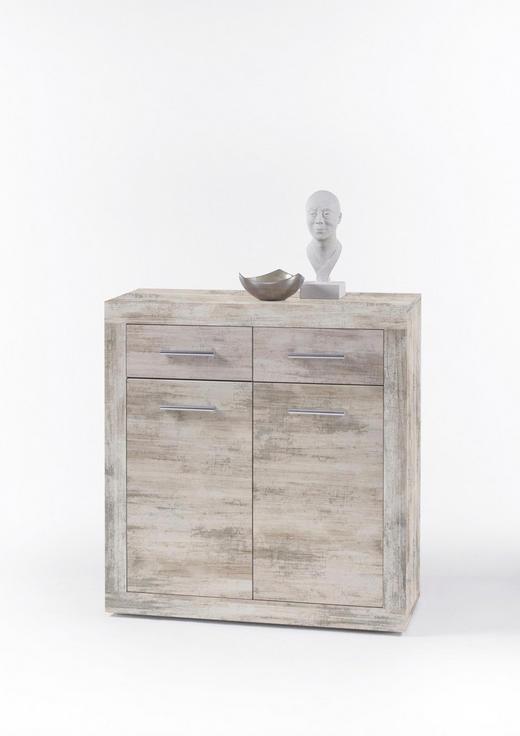 KOMMODE Eichefarben - Eichefarben/Silberfarben, KONVENTIONELL, Holzwerkstoff/Kunststoff (82/88/37cm)