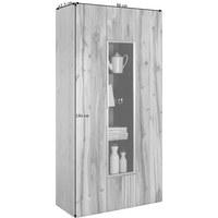 VITRINE Altholz, Eiche furniert, mehrschichtige Massivholzplatte (Tischlerplatte) Eichefarben  - Eichefarben/Silberfarben, Design, Glas/Holz (96/194/42,3cm) - Voglauer