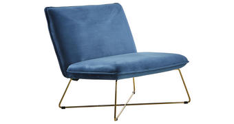 LOUNGESESSEL Blau, Gold Samt Samt Blau, Goldfarben    - Blau/Goldfarben, Trend, Textil/Metall (90/89/81cm)