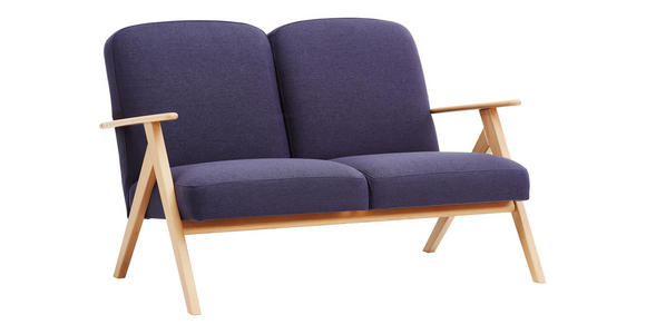 ZWEISITZER-SOFA in Holz, Textil Grau, Eichefarben  - Eichefarben/Grau, KONVENTIONELL, Holz/Textil (120/77/82cm) - Cantus