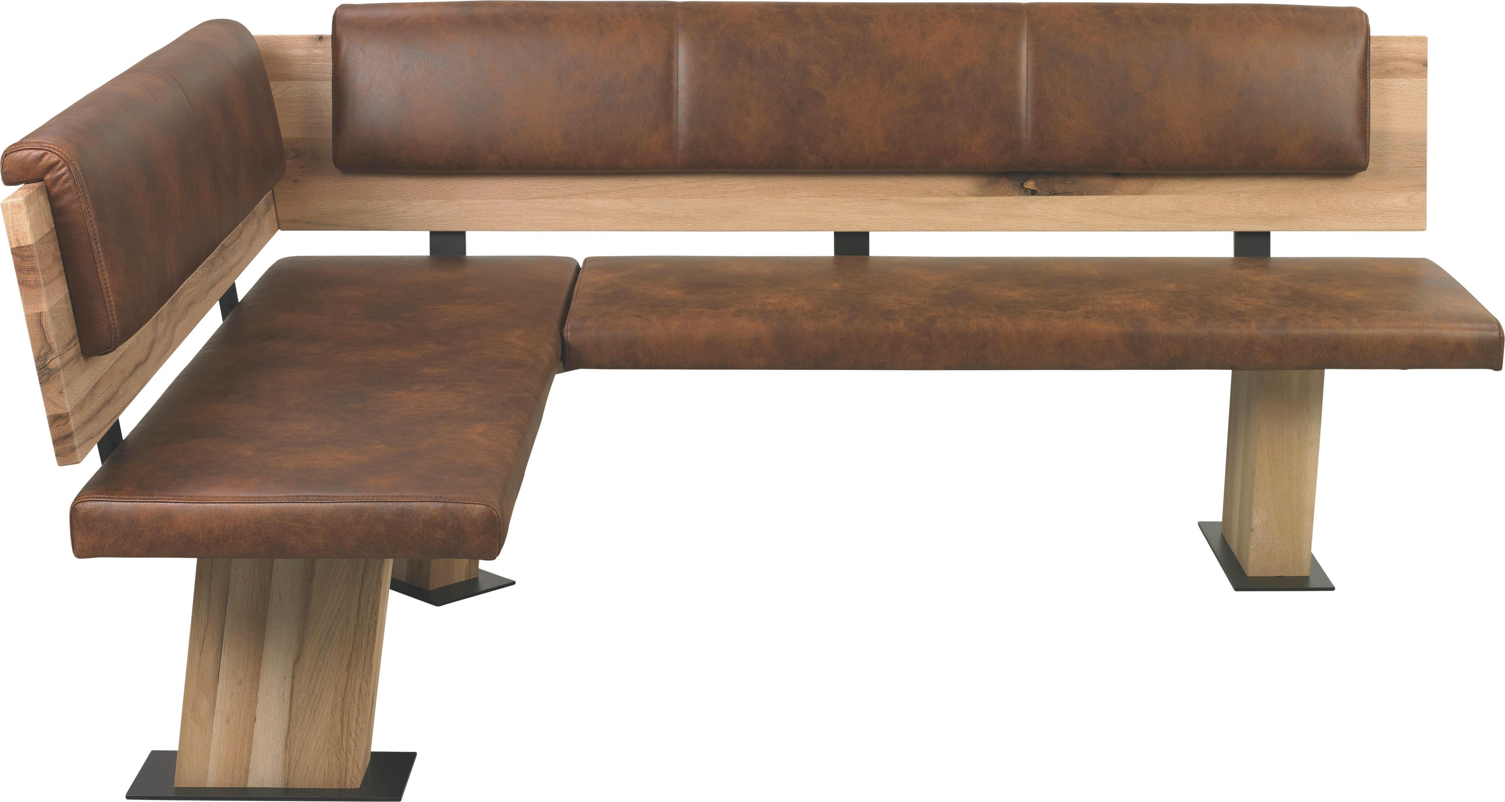 ECKBANK In Holz, Metall, Textil Braun, Eichefarben   Eichefarben/Braun,  Design