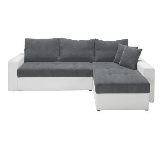 SEDACÍ SOUPRAVA, textil, šedá, bílá - šedá/bílá, Design, textil/umělá hmota (245/80/175cm) - Ti`me
