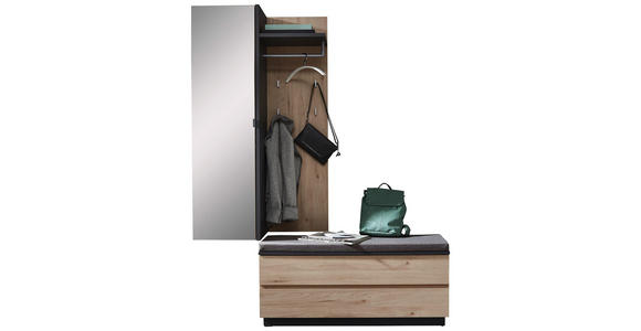 GARDEROBE - Eichefarben/Graphitfarben, Design, Glas/Holzwerkstoff (157/202/45cm) - Voleo